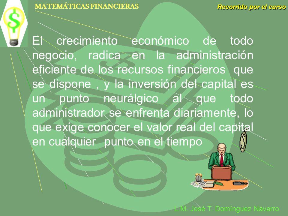 MATEMÁTICAS FINANCIERAS Recorrido por el curso L.M. José T. Domínguez Navarro El crecimiento económico de todo negocio, radica en la administración ef