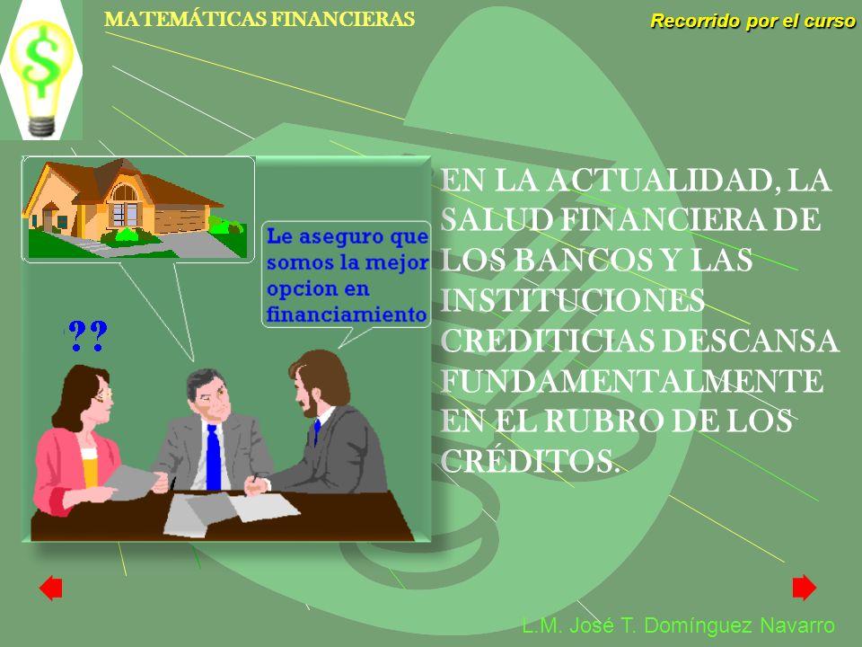 MATEMÁTICAS FINANCIERAS Recorrido por el curso L.M. José T. Domínguez Navarro EN LA ACTUALIDAD, LA SALUD FINANCIERA DE LOS BANCOS Y LAS INSTITUCIONES