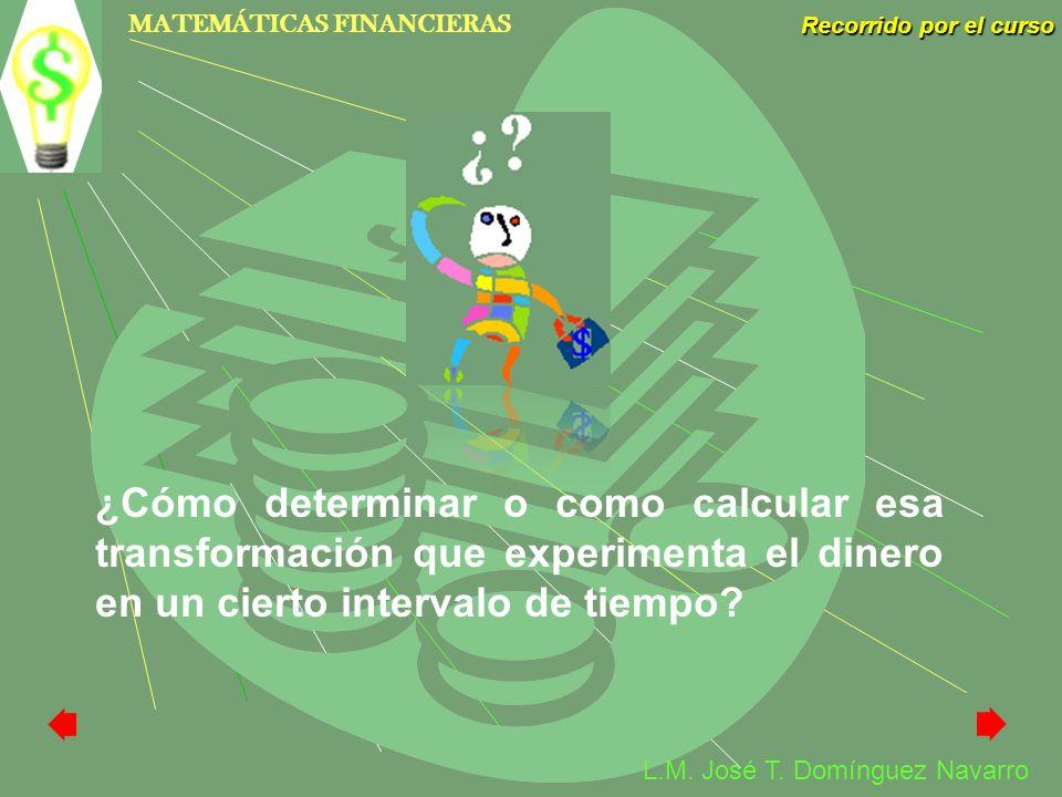 MATEMÁTICAS FINANCIERAS Recorrido por el curso L.M. José T. Domínguez Navarro ¿Cómo determinar o como calcular esa transformación que experimenta el d