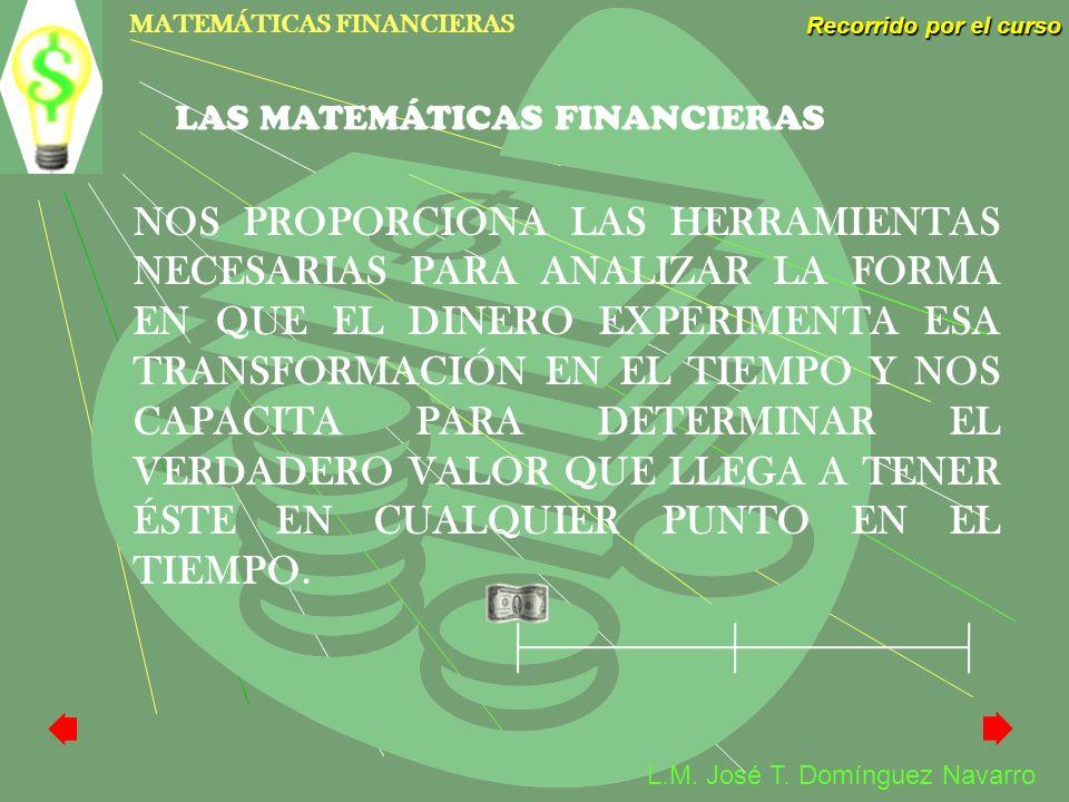 MATEMÁTICAS FINANCIERAS Recorrido por el curso L.M. José T. Domínguez Navarro NOS PROPORCIONA LAS HERRAMIENTAS NECESARIAS PARA ANALIZAR LA FORMA EN QU
