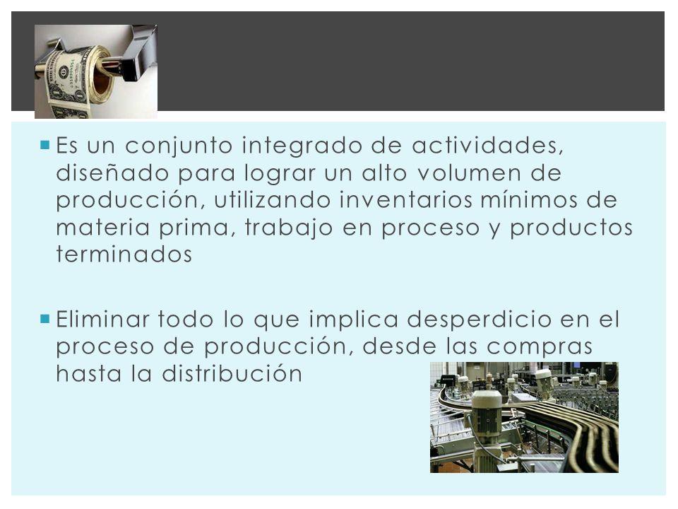Es un conjunto integrado de actividades, diseñado para lograr un alto volumen de producción, utilizando inventarios mínimos de materia prima, trabajo en proceso y productos terminados Eliminar todo lo que implica desperdicio en el proceso de producción, desde las compras hasta la distribución