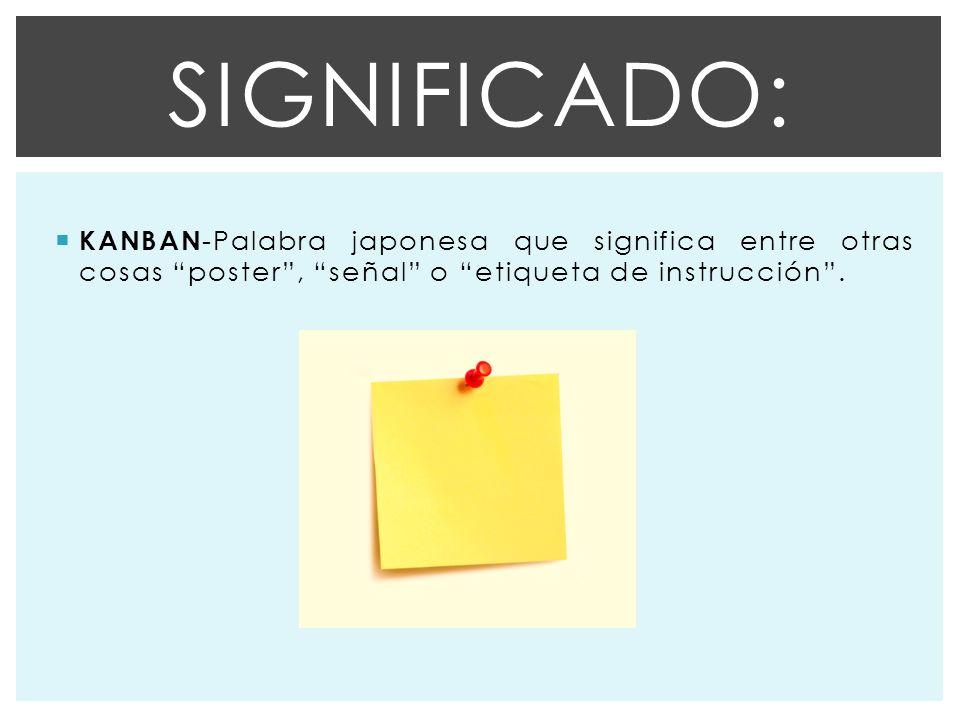 KANBAN -Palabra japonesa que significa entre otras cosas poster, señal o etiqueta de instrucción.