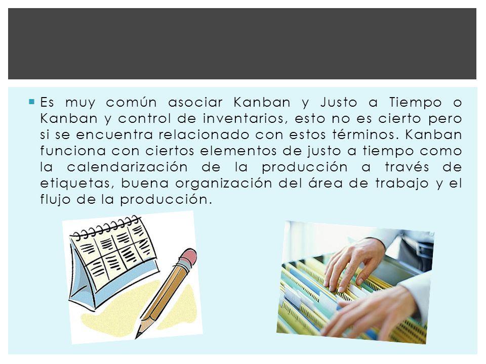 Es muy común asociar Kanban y Justo a Tiempo o Kanban y control de inventarios, esto no es cierto pero si se encuentra relacionado con estos términos.
