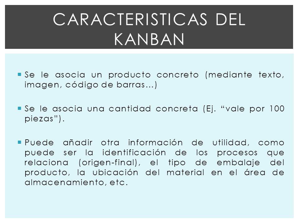 Se le asocia un producto concreto (mediante texto, imagen, código de barras…) Se le asocia una cantidad concreta (Ej.