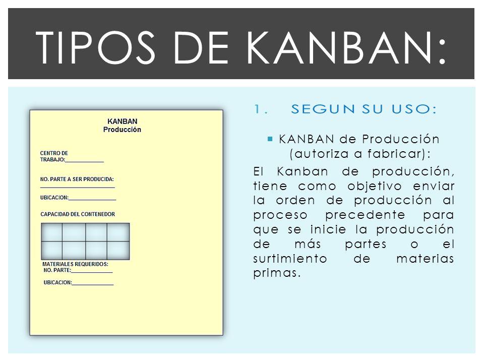 KANBAN de Producción (autoriza a fabricar): El Kanban de producción, tiene como objetivo enviar la orden de producción al proceso precedente para que se inicie la producción de más partes o el surtimiento de materias primas.