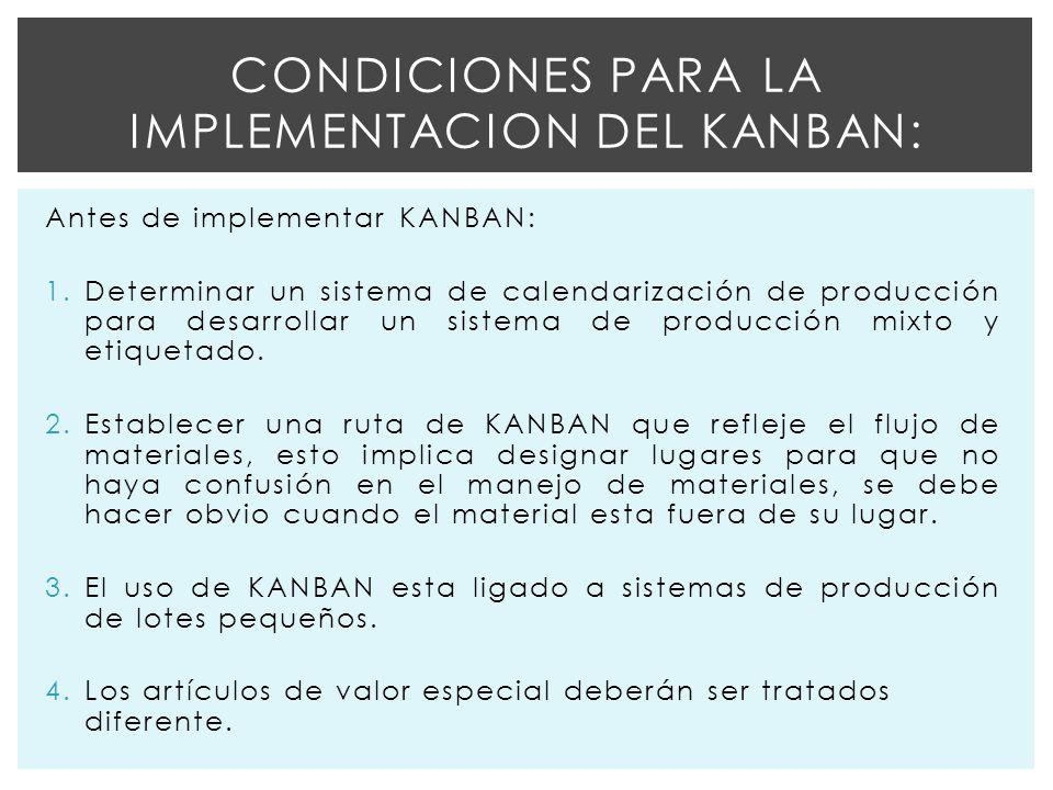 Antes de implementar KANBAN: 1.Determinar un sistema de calendarización de producción para desarrollar un sistema de producción mixto y etiquetado.