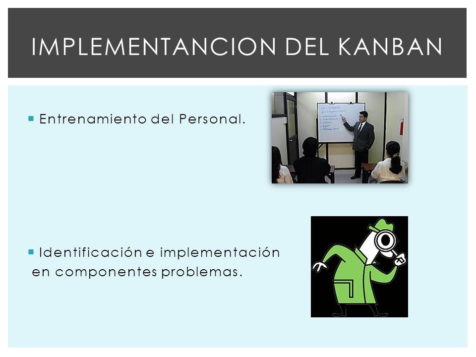 Entrenamiento del Personal.Identificación e implementación en componentes problemas.