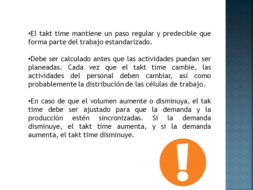 El takt time mantiene un paso regular y predecible que forma parte del trabajo estandarizado.