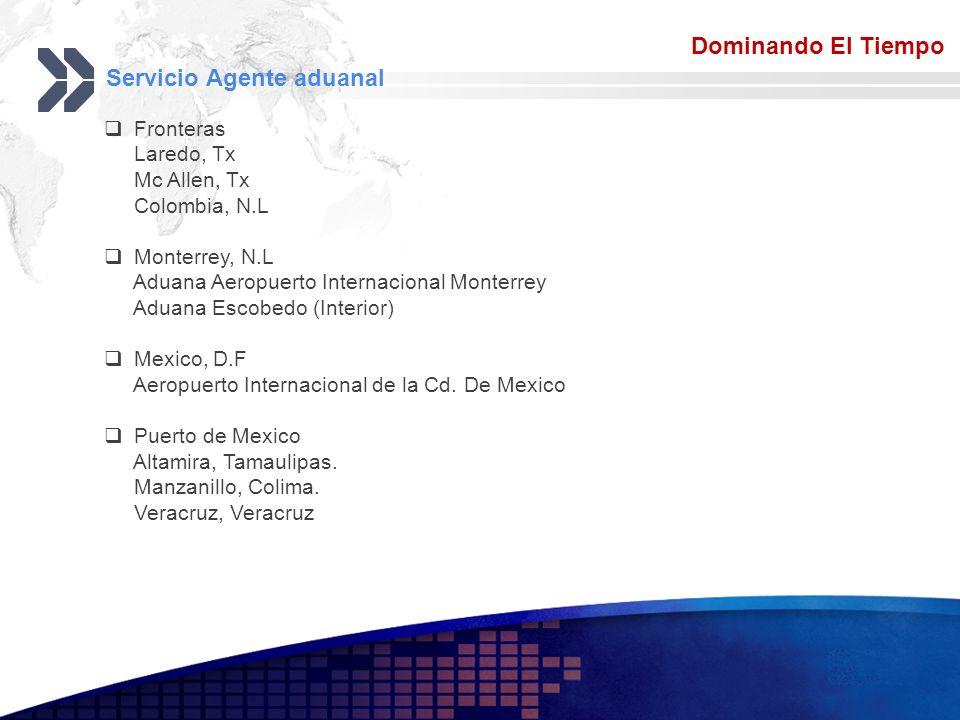 Add your company slogan LOGO Servicio Agente aduanal Dominando El Tiempo Fronteras Laredo, Tx Mc Allen, Tx Colombia, N.L Monterrey, N.L Aduana Aeropue