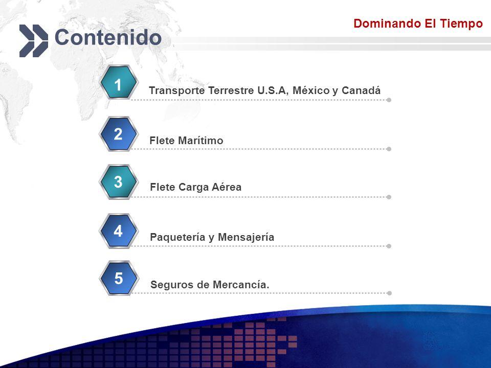 Add your company slogan LOGO Contenido Transporte Terrestre U.S.A, México y Canadá 1 Flete Marítimo 2 Flete Carga Aérea 3 Paquetería y Mensajería 4 Do