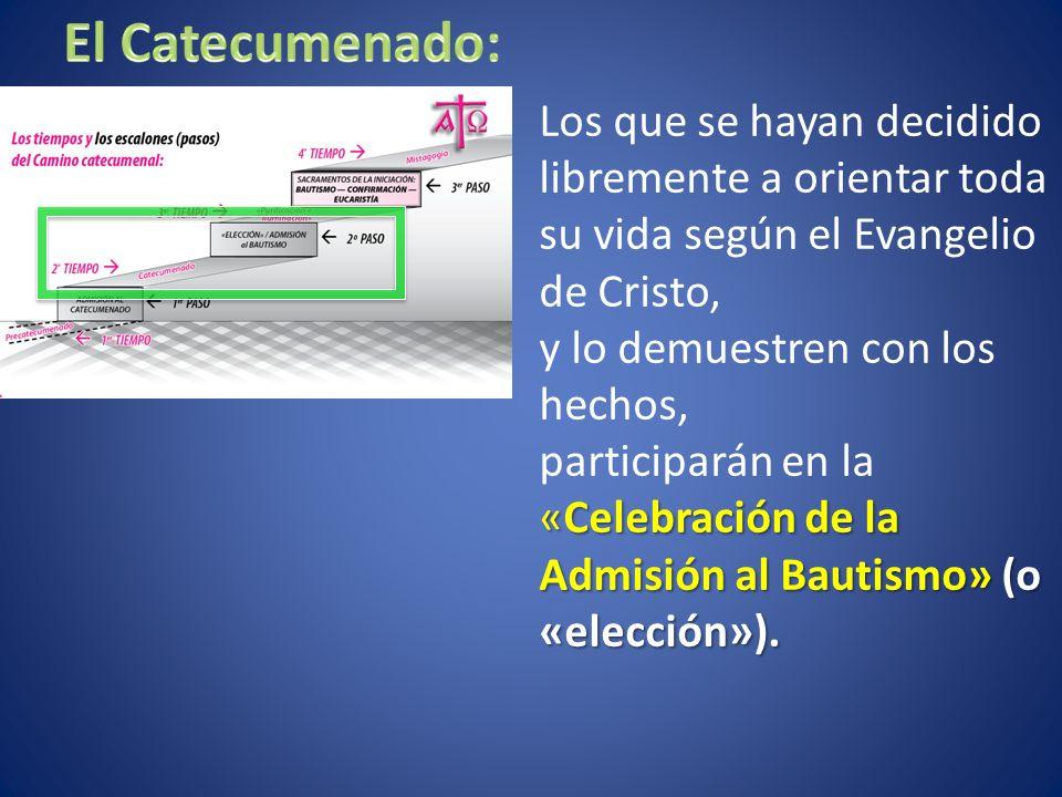 Los que se hayan decidido libremente a orientar toda su vida según el Evangelio de Cristo, y lo demuestren con los hechos, «Celebración de la Admisión al Bautismo» (o «elección»).