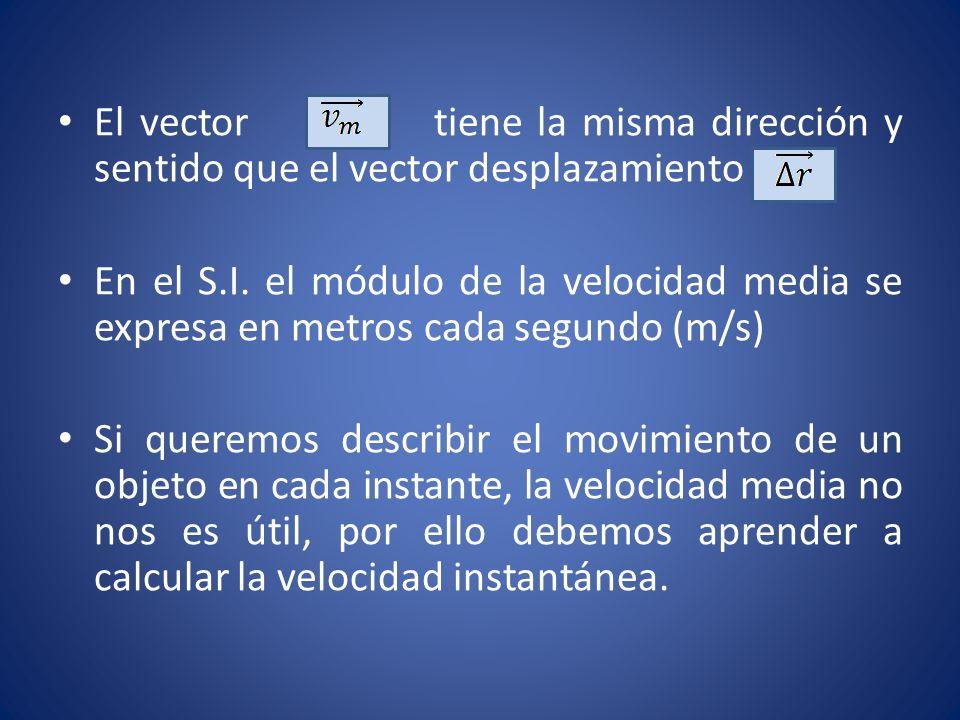 Para calcular la velocidad con la que se mueve el objeto en cualquier instante, podemos ir reduciendo el intervalo de tiempo considerado en el cálculo de la velocidad media hasta conseguir que sea prácticamente nulo.