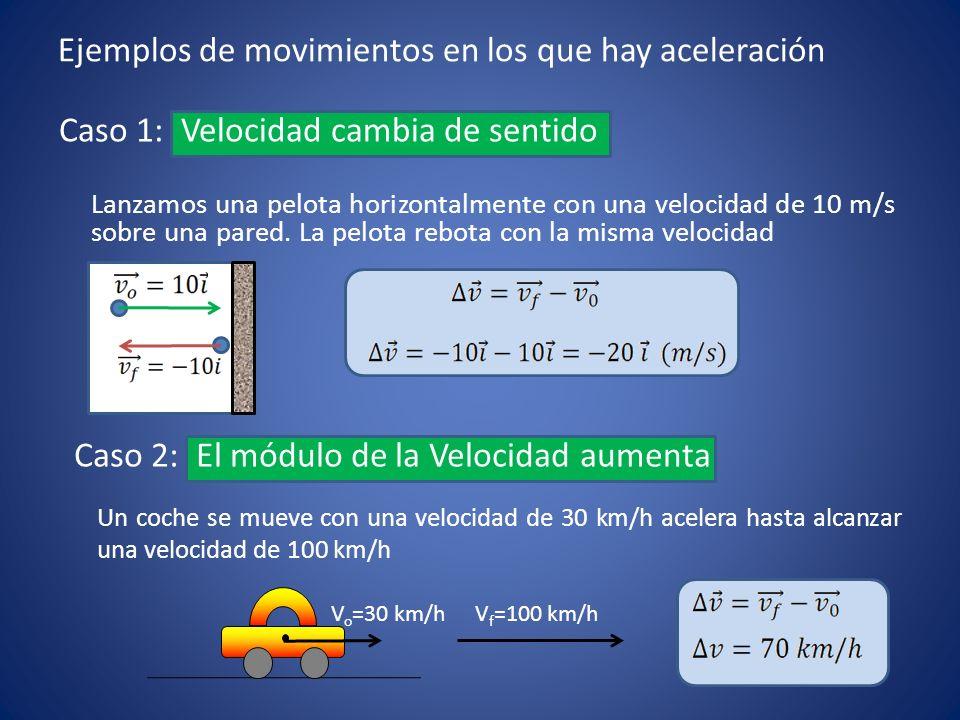 Caso 3: El módulo de la velocidad disminuye Un coche que se mueve con una velocidad de 50 km/h frena ante un obstáculo hasta pararse Caso 4: La dirección de la velocidad cambia constantemente Un coche toma una curva con rapidez constante de 45 km/h
