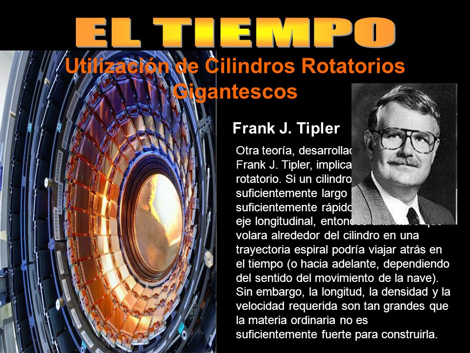 Otra teoría, desarrollada por el físico Frank J.Tipler, implica un cilindro rotatorio.