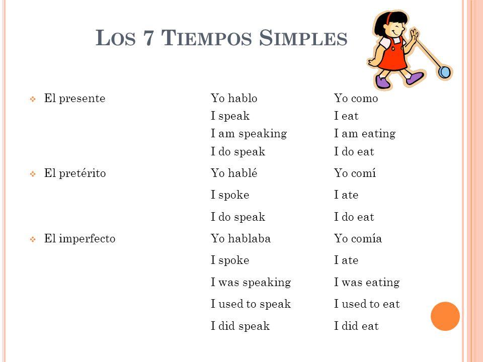 L OS 7 T IEMPOS S IMPLES El presenteYo hablo Yo como I speakI eat I am speakingI am eating I do speakI do eat El pretéritoYo habléYo comí I spokeI ate