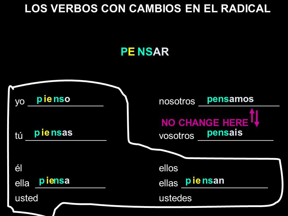 LOS VERBOS CON CAMBIOS EN EL RADICAL yo ______________nosotros _______________ tú _______________vosotros ______________ élellos ella _____________ell