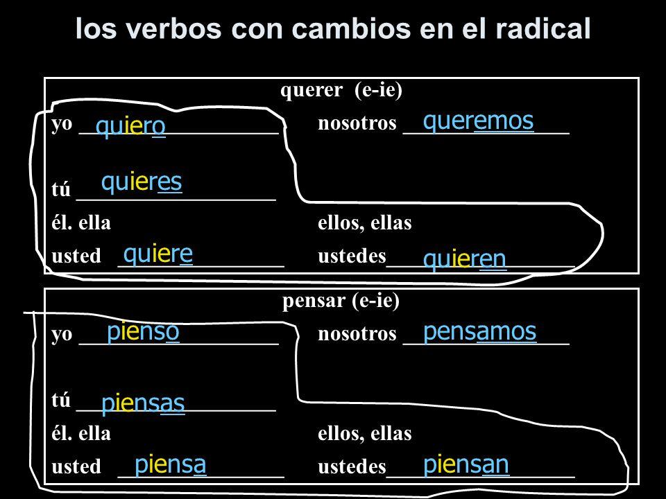 los verbos con cambios en el radical querer (e-ie) yo __________________nosotros _______________ tú __________________ él. ellaellos, ellas usted_____