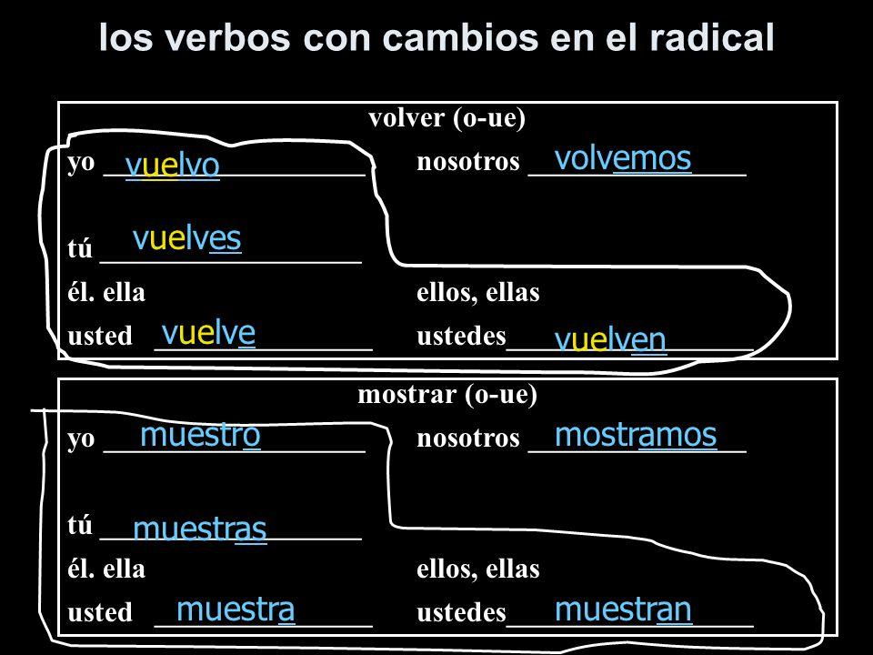 los verbos con cambios en el radical volver (o-ue) yo __________________nosotros _______________ tú __________________ él. ellaellos, ellas usted_____