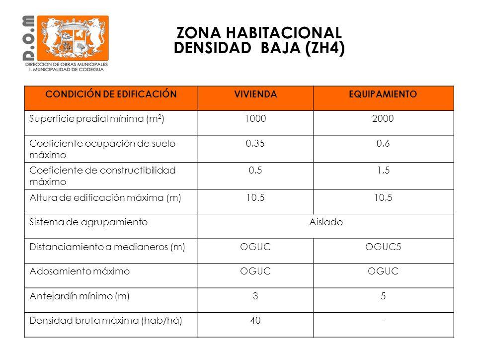 ZONA HABITACIONAL DENSIDAD BAJA (ZH4) CONDICIÓN DE EDIFICACIÓNVIVIENDAEQUIPAMIENTO Superficie predial mínima (m 2 )10002000 Coeficiente ocupación de s