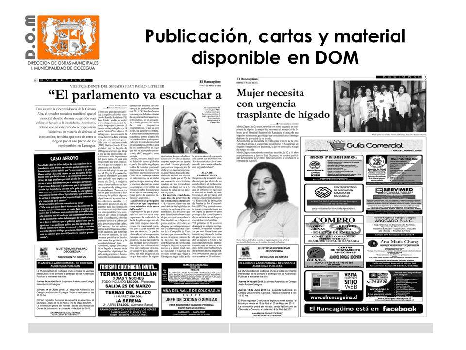 Publicación, cartas y material disponible en DOM