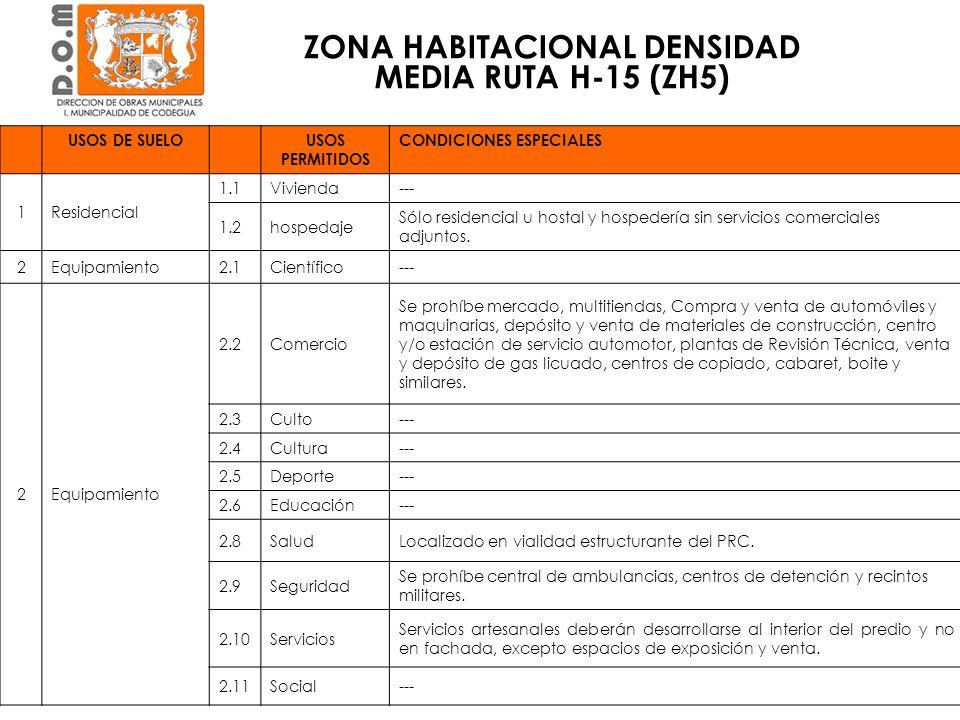 ZONA HABITACIONAL DENSIDAD MEDIA RUTA H-15 (ZH5) USOS DE SUELOUSOS PERMITIDOS CONDICIONES ESPECIALES 1Residencial 1.1Vivienda--- 1.2hospedaje Sólo res