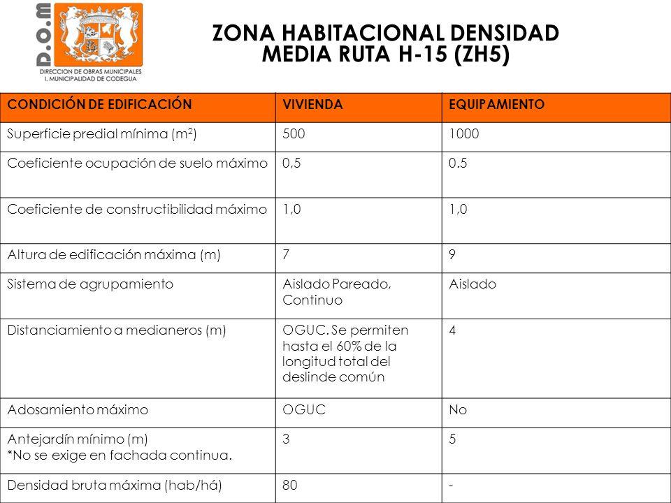 ZONA HABITACIONAL DENSIDAD MEDIA RUTA H-15 (ZH5) CONDICIÓN DE EDIFICACIÓNVIVIENDAEQUIPAMIENTO Superficie predial mínima (m 2 )5001000 Coeficiente ocup