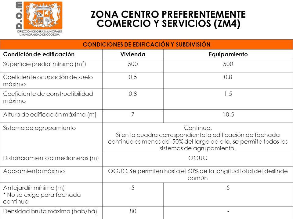 ZONA CENTRO PREFERENTEMENTE COMERCIO Y SERVICIOS (ZM4) CONDICIONES DE EDIFICACIÓN Y SUBDIVISIÓN Condición de edificaciónViviendaEquipamiento Superfici