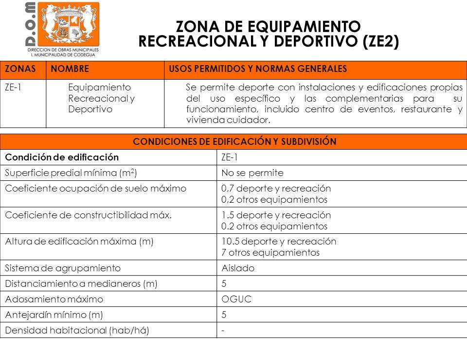 ZONASNOMBREUSOS PERMITIDOS Y NORMAS GENERALES ZE-1 Equipamiento Recreacional y Deportivo Se permite deporte con instalaciones y edificaciones propias