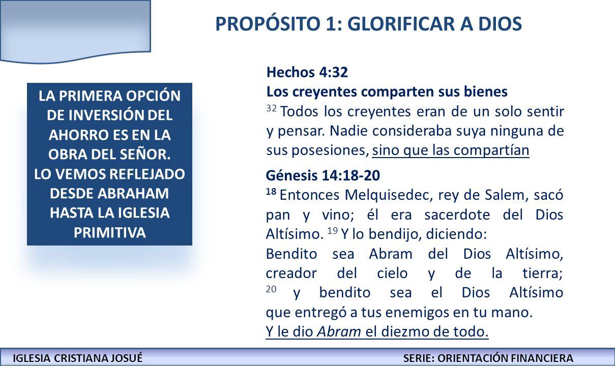 IGLESIA CRISTIANA JOSUECONFERENCIAS: LA BIBLIA Y LOS NEGOCIOS IGLESIA CRISTIANA JOSUÉSERIE: ORIENTACIÓN FINANCIERA PROPÓSITO 1: GLORIFICAR A DIOS LA P