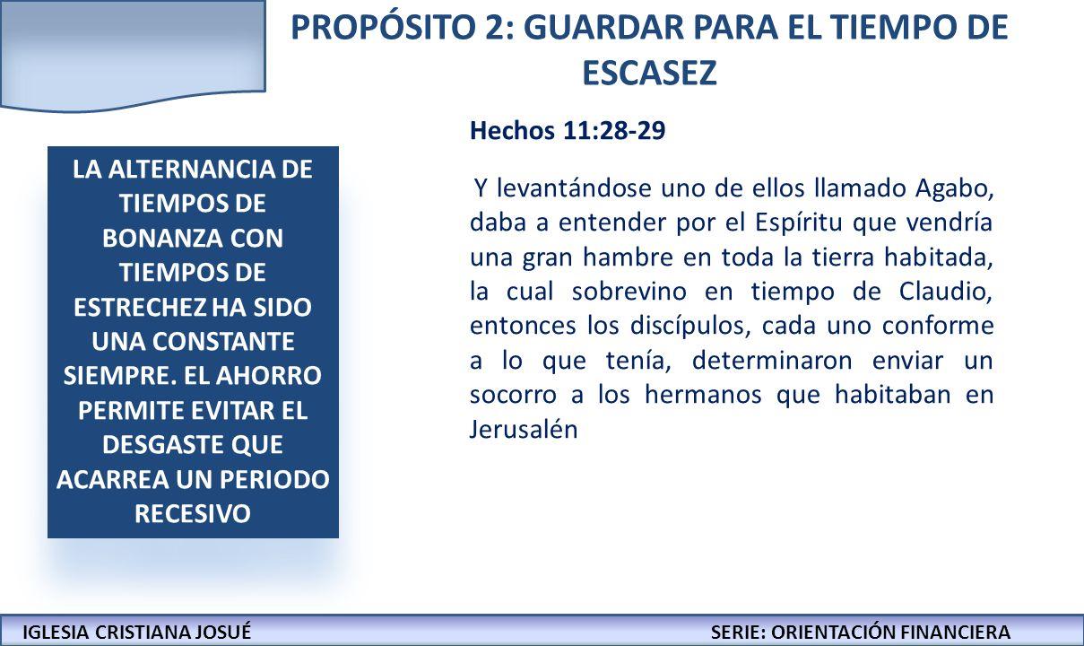 IGLESIA CRISTIANA JOSUECONFERENCIAS: LA BIBLIA Y LOS NEGOCIOS IGLESIA CRISTIANA JOSUÉSERIE: ORIENTACIÓN FINANCIERA PROPÓSITO 2: GUARDAR PARA EL TIEMPO