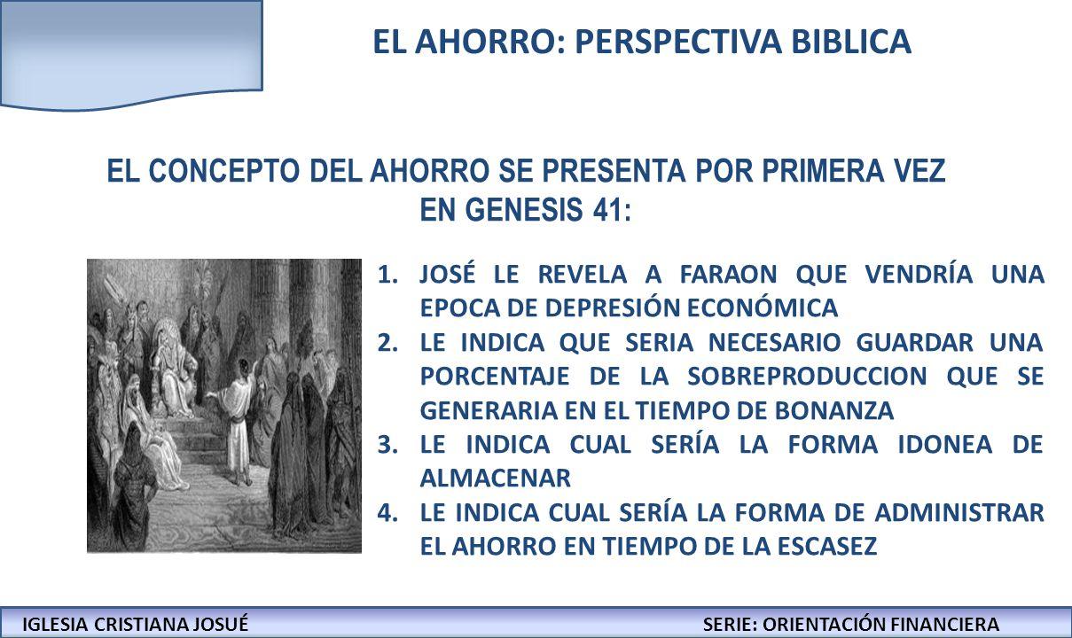 IGLESIA CRISTIANA JOSUECONFERENCIAS: LA BIBLIA Y LOS NEGOCIOS IGLESIA CRISTIANA JOSUÉSERIE: ORIENTACIÓN FINANCIERA FORMULA 1 EL PROCESO ECONÓMICO ES SENCILLO: LOS RECEPTORES DE INTERESES CRECEN PATRIMONIALMENTE, LOS PAGADORES DE INTERESES SOLO CRECEN SI FINANCIAN PROYECTOS CON RENTABILIDAD SUPERIOR A LOS INTERESES PAGADOS EMPIECE POR DETALLAR LOS GASTOS QUE EN REALIDAD SON INPRESCINDIBLES EN SU FAMILIA HAGA RECORTES Y ELIMINE LO SUNTUOSO ESTRUCTURE SU NIVEL DE VIDA DE ACUERDO A LO QUE EN REALIDAD LE PERMITE SU INGRESO PRIORICE EL DIEZMO DESPUES DE ESTO, REPITA EL EJERCICIO HASTA QUE LE SEA POSIBLE AHORRAR UNA CANTIDAD MINIMA DE DINERO PRESUPUESTO