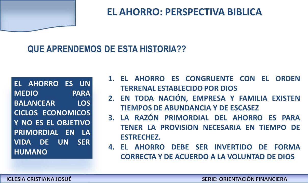 IGLESIA CRISTIANA JOSUECONFERENCIAS: LA BIBLIA Y LOS NEGOCIOS AGENDA IGLESIA CRISTIANA JOSUÉSERIE: ORIENTACIÓN FINANCIERA EL AHORRO: PERSPECTIVA BIBLICA SIMBIOSIS ENTRE AHORRO E INVERSIÓN EL VERDADERO PROPOSITO DE AHORRAR E INVERTIR FORMULAS SENCILLAS PARA AeI EL COMPROMISO DEL CORAZÓN
