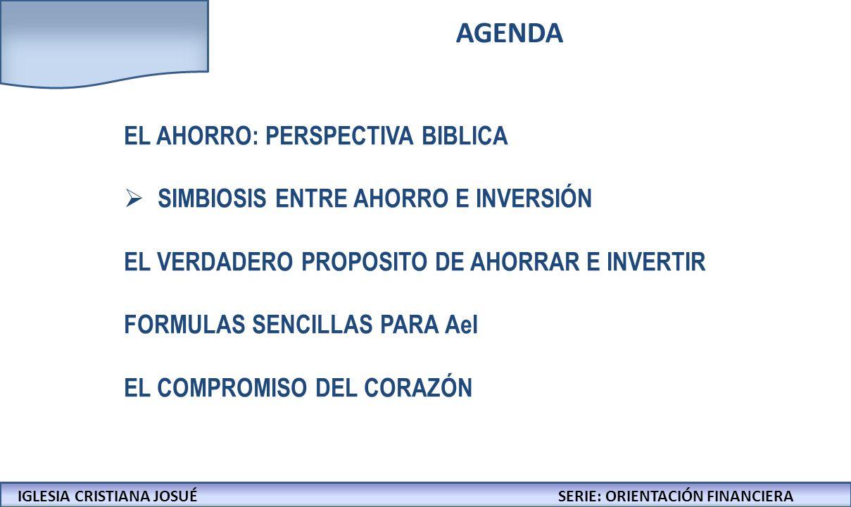 IGLESIA CRISTIANA JOSUECONFERENCIAS: LA BIBLIA Y LOS NEGOCIOS SIMBIOSIS ENTRE AHORRO E INVERSIÓN IGLESIA CRISTIANA JOSUÉSERIE: ORIENTACIÓN FINANCIERA EL AHORRO ES LA MATERIA PRIMA DE LA INVERSIÓN AHORRO INVERSIÓN
