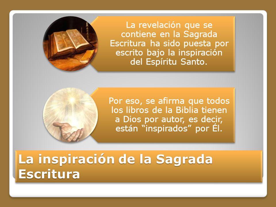 La inspiración de la Sagrada Escritura La revelación que se contiene en la Sagrada Escritura ha sido puesta por escrito bajo la inspiración del Espíritu Santo.