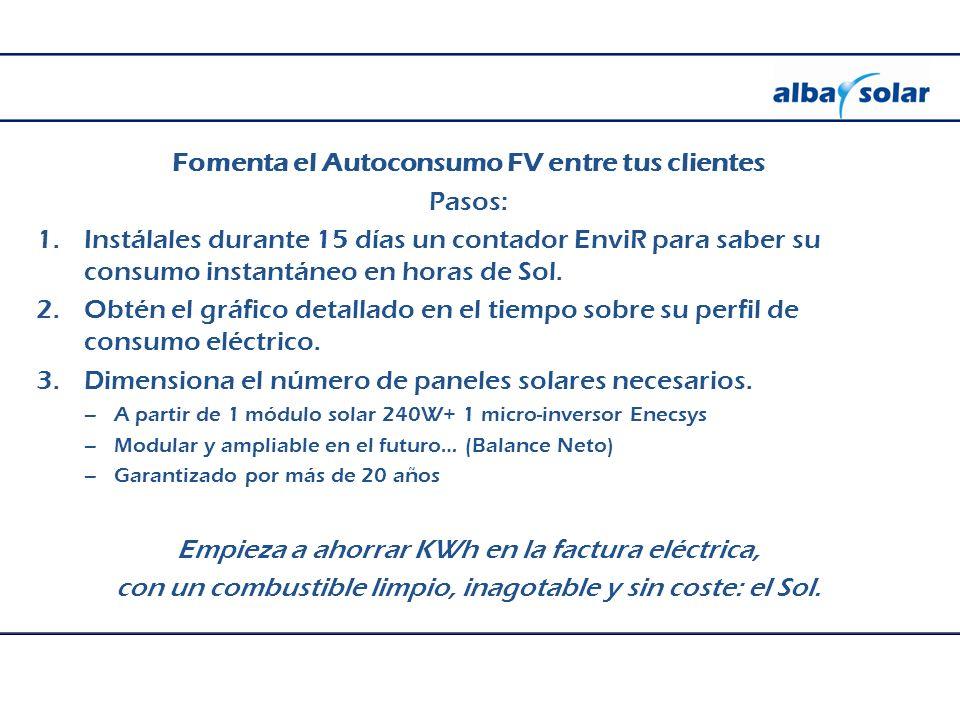 Fomenta el Autoconsumo FV entre tus clientes Pasos: 1.Instálales durante 15 días un contador EnviR para saber su consumo instantáneo en horas de Sol.