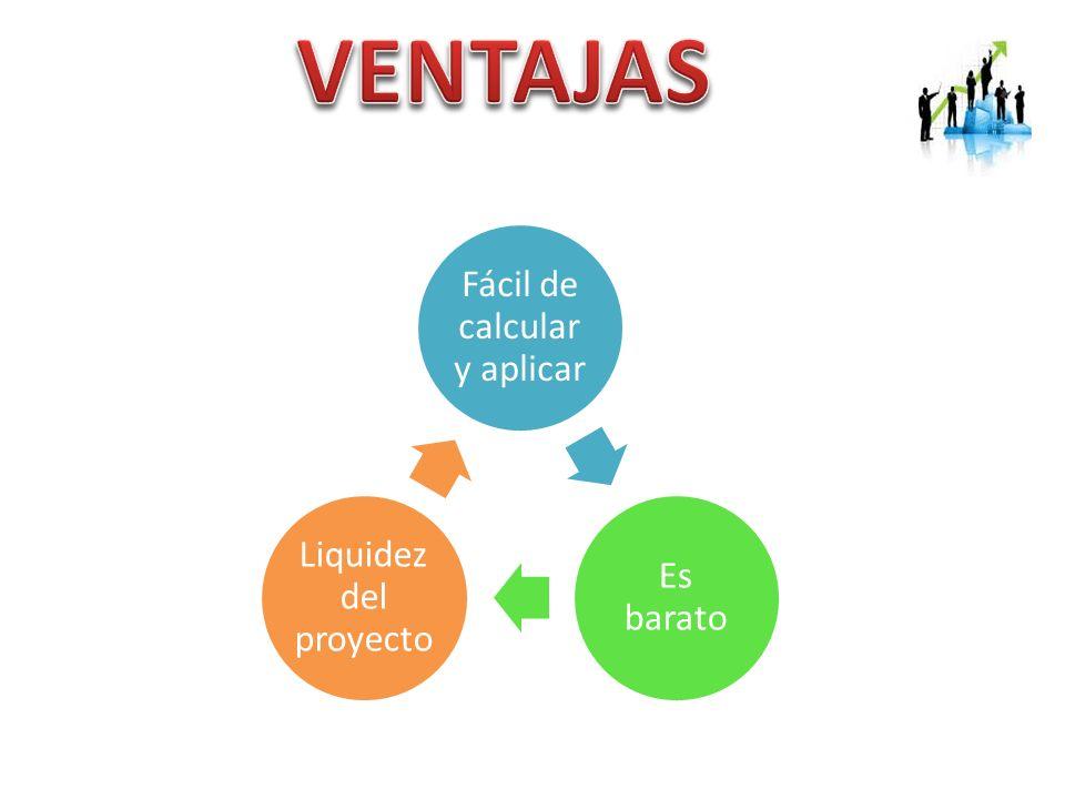Fácil de calcular y aplicar Es barato Liquidez del proyecto