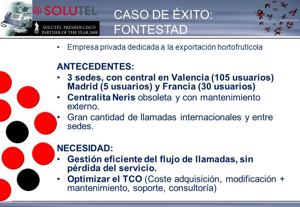 Empresa privada dedicada a la exportación hortofrutícola ANTECEDENTES: 3 sedes, con central en Valencia (105 usuarios) Madrid (5 usuarios) y Francia (30 usuarios) Centralita Neris obsoleta y con mantenimiento externo.