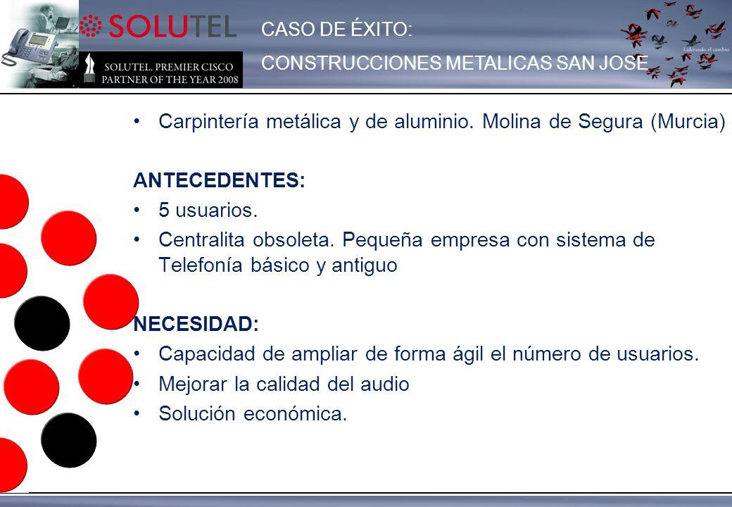 Carpintería metálica y de aluminio. Molina de Segura (Murcia) ANTECEDENTES: 5 usuarios. Centralita obsoleta. Pequeña empresa con sistema de Telefonía