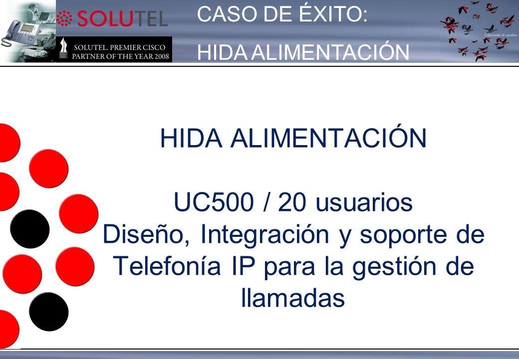 HIDA ALIMENTACIÓN UC500 / 20 usuarios Diseño, Integración y soporte de Telefonía IP para la gestión de llamadas CASO DE ÉXITO: HIDA ALIMENTACIÓN