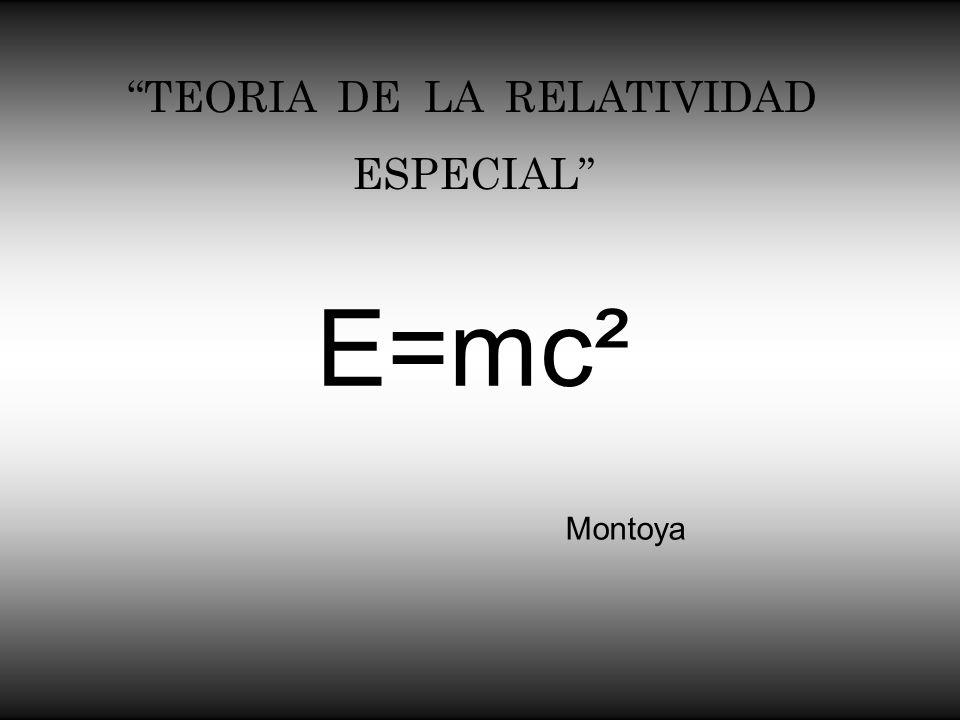 TEORIA DE LA RELATIVIDAD ESPECIAL Montoya E=mc²