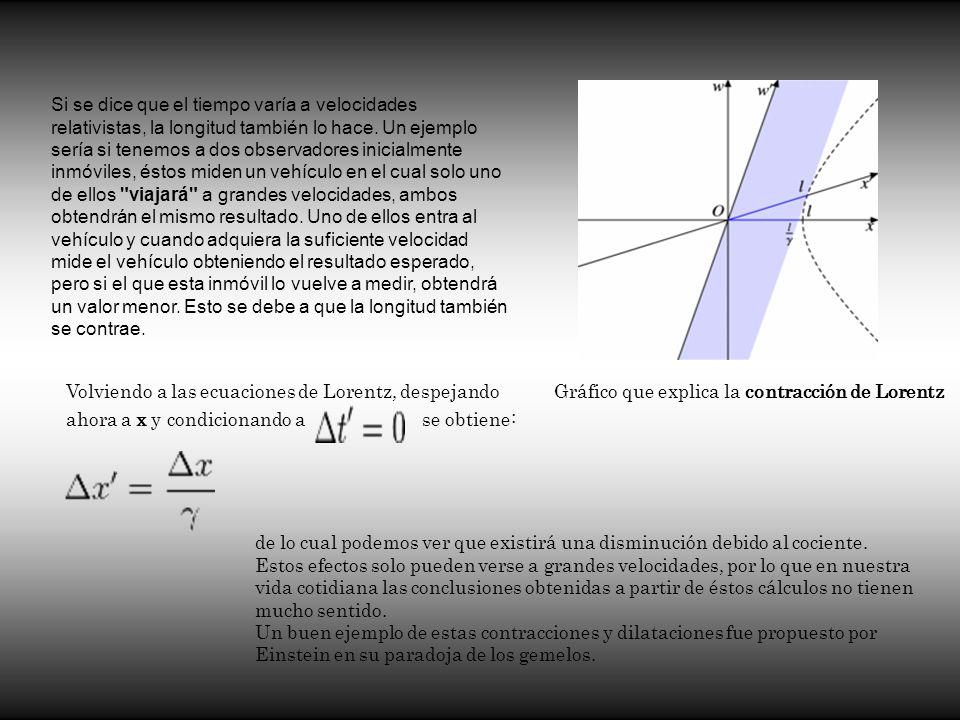 Gráfico que explica la contracción de Lorentz Si se dice que el tiempo varía a velocidades relativistas, la longitud también lo hace. Un ejemplo sería