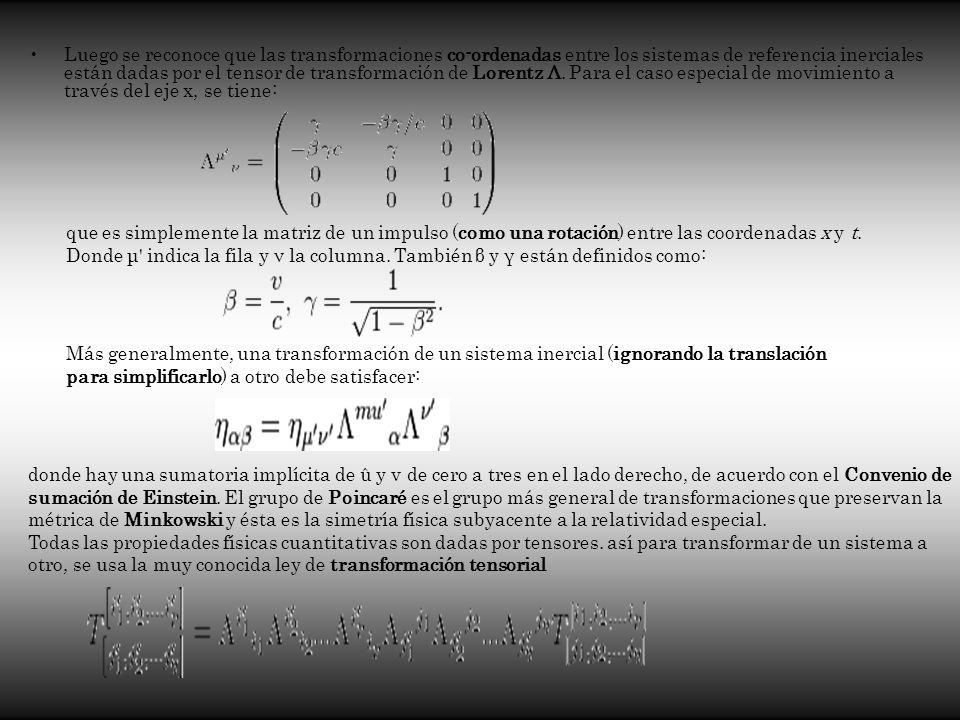 Luego se reconoce que las transformaciones co-ordenadas entre los sistemas de referencia inerciales están dadas por el tensor de transformación de Lor