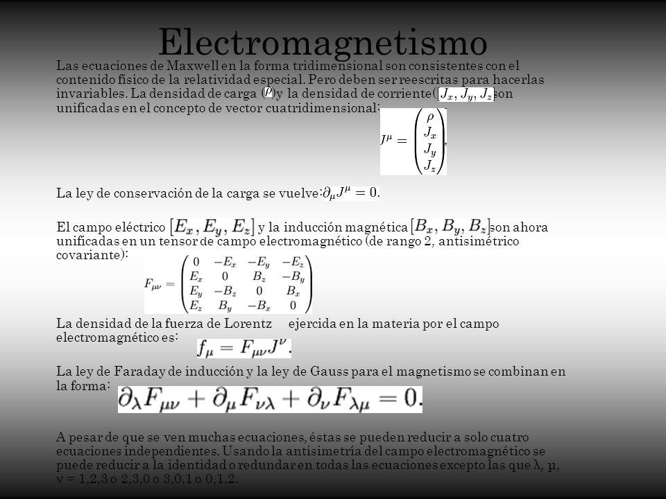 Electromagnetismo Las ecuaciones de Maxwell en la forma tridimensional son consistentes con el contenido físico de la relatividad especial. Pero deben