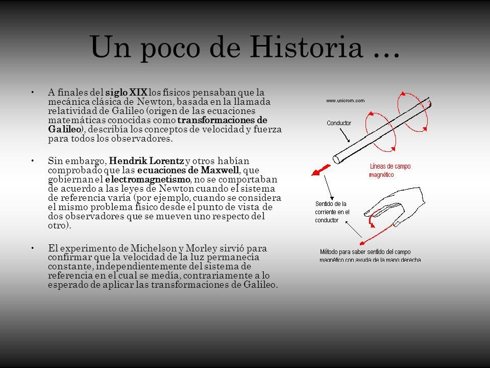 Un poco de Historia … A finales del siglo XIX los físicos pensaban que la mecánica clásica de Newton, basada en la llamada relatividad de Galileo (ori
