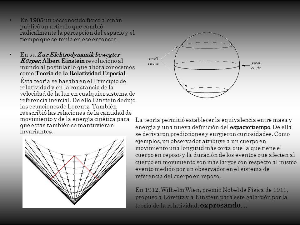 En 1905 un desconocido físico alemán publicó un artículo que cambió radicalmente la percepción del espacio y el tiempo que se tenía en ese entonces. E