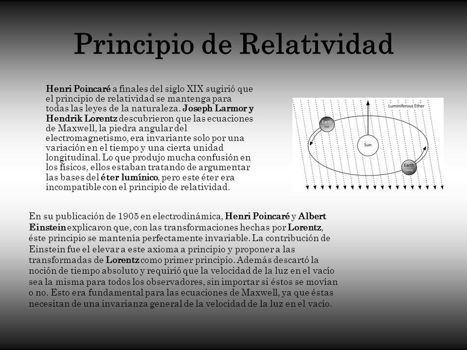 Principio de Relatividad Henri Poincaré a finales del siglo XIX sugirió que el principio de relatividad se mantenga para todas las leyes de la natural