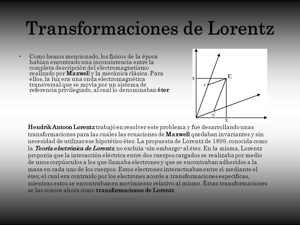 Transformaciones de Lorentz Como hemos mencionado, los físicos de la época habían encontrado una inconsistencia entre la completa descripción del elec