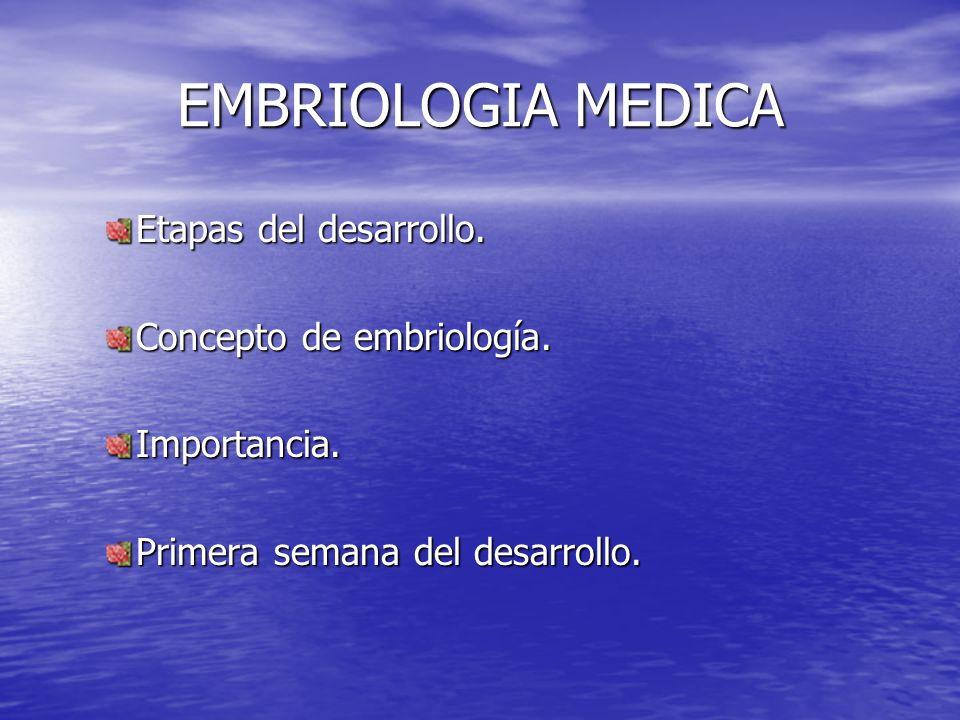 EMBRIOLOGIA MEDICA Etapas del desarrollo. Concepto de embriología. Importancia. Primera semana del desarrollo.