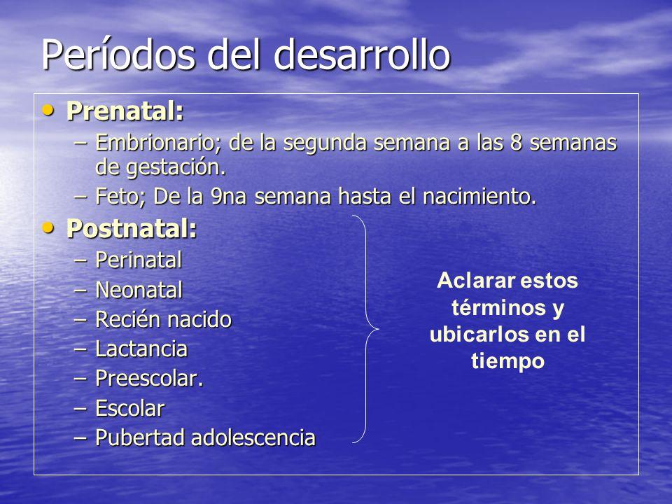 Períodos del desarrollo Prenatal: Prenatal: –Embrionario; de la segunda semana a las 8 semanas de gestación. –Feto; De la 9na semana hasta el nacimien
