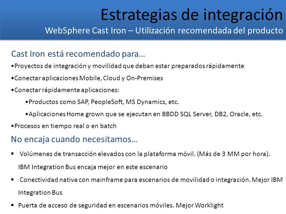 Estrategias de integración WebSphere Cast Iron – Utilización recomendada del producto Estrategias de integración WebSphere Cast Iron – Utilización rec